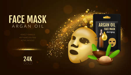 Cosmetics facial mask. Realistic 3D beauty golden face cover with argan oil. Skincare anti age essential formula. Luminous particles and gold serum bubbles. Vector advertising concept