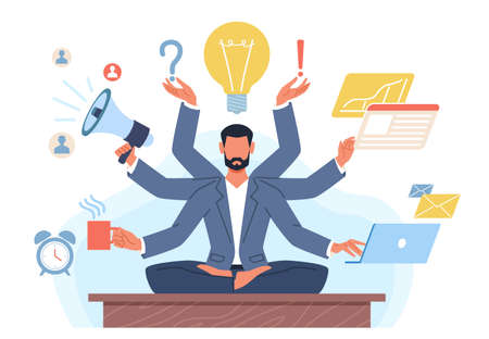 Multitasking man. Businessman with many hands in lotus position solves tasks at same time. Manager yoga zen. Productive work process. Effective management. Vector workaholic concept