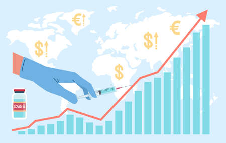 Vaccine economy. Hand in medical glove holding syringe on world map background. Growing profit chart. Worldwide vaccination infographic. Vector revenues from fight against coronavirus