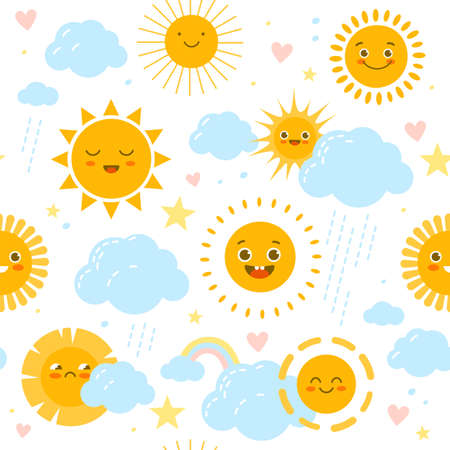 Sun seamless pattern. Baby print with weathers happy or sad smiles. Rainbow and clouds with raindrops. Funny nursery decor. Kids soft pastel colors stars and hearts. Vector background