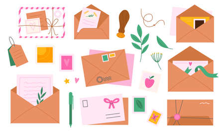 Envelopes with postmarks. Letters and greeting cards decor. Mail messages delivery. Cartoon craft postcards and paper pages, twine pieces or herbarium sprigs. Vector correspondence set 矢量图像