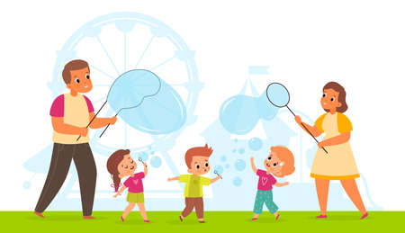 Bubbles show. Cute happy children and adults blowing soap bubbles in park. Cartoon kids and parents playing with air foam balls. Summer family vacation. Outdoor leisure. Vector concept 矢量图像