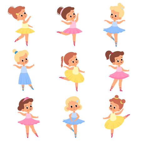 Cute ballerinas. Girls in tutus and pointe shoes. Young ballet dancers. Kids in different poses. Romantic characters performing choreographic positions. Vector dancing children set