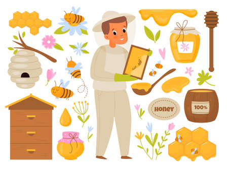 Apiary honey. Cartoon beekeeper. Man takes care of bees producing organic sweets in hive. Barrel and glass can for natural products. Honeycombs and flowers. Vector beekeeping elements set