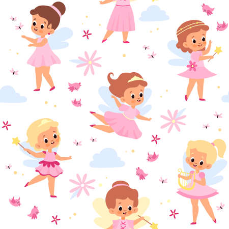 Fairies seamless pattern. Cute winged girls. Young flying sorceresses. Little princess in pink dresses. Baby enchantresses with magical wands. Funny clouds and flowers. Vector background