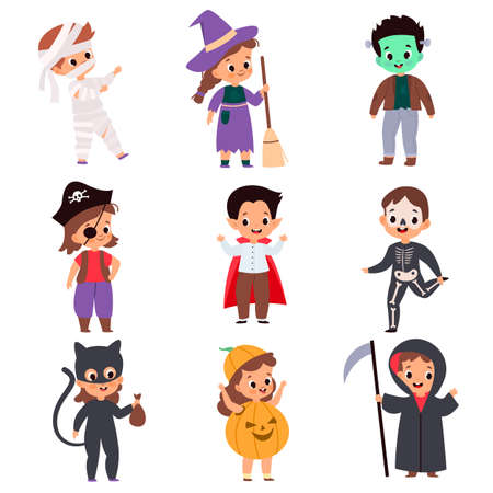 Trick or treating kids. Cartoon boys and girls in festival costumes. Halloween outfits. Isolated skeleton and pirate, reaper or vampire. Monsters celebrating autumn holiday, vector set