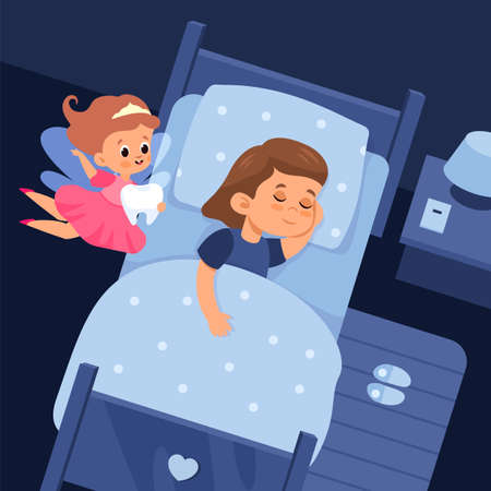 Tooth fairy and sleeping child. Cartoon girl in bed and cute flying sorceress holds baby teeth. Night room. Winged character in pink dress visits kids. Vector healthy sleep concept 矢量图像