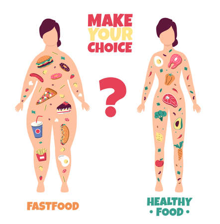Healthy lifestyle. Fat and slim woman body scheme with good meal and fast food filling. Fitness and diet nutrition or excess weight. Female figures silhouette. Vector choice concept