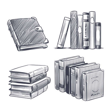 Book hand drawn. Monochrome notebooks sketch. Library and bookstore drawing elements. Engraving stack of textbooks. Hardcover diary or encyclopedia. Vector literature publication set