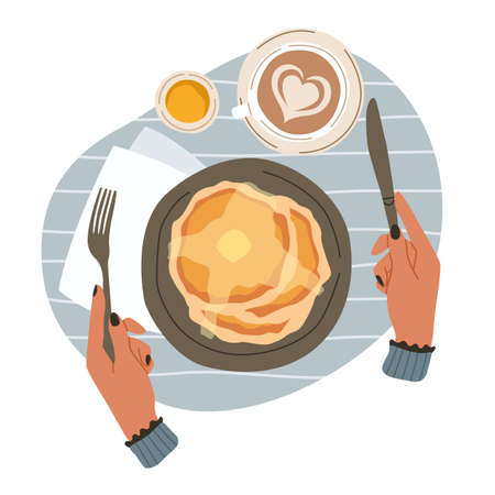 Breakfast and hands. Top view of morning meals. Cartoon person eats brunch with knife and fork. Tasty pancakes or cup of cappuccino. Character takes lunch in cafe. Vector illustration