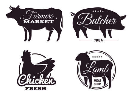 Butchery shop labels with domestic animals silhouettes. Meat store emblems design template. Selling beef and pork, chicken and lamb products. Vector farmers food market black banners set