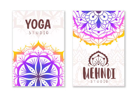 Yoga studio cards. Indian practices banner with oriental mandala patterns. Decorative ethnic fractals and floral ornaments. Asian meditation circles and lettering. Vector posters set