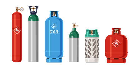 Cylinders gas. LPG propane container. Metal balloon for compressed oxygen and flammable fuel. Isolated tanks with natural butane. Industrial explosive products. Vector equipment set