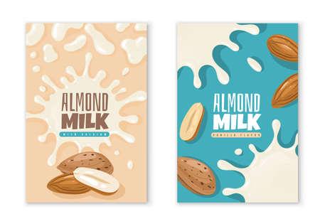 Almond milk labels. Dairy product package design template. Vegan diet organic beverages advertising. Liquid blots and nuts. Natural vegetarian healthy nutrition. Vector packaging stickers mockup set 矢量图像