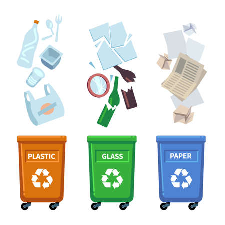 Trash bins. Different types containers for waste sorting. Separation of plastic, glass and paper garbage. Trashcans with recycle signs. Rubbish falls into dumpster. Vector dustbins set 矢量图像
