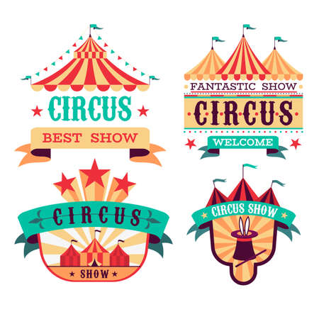 Emblems Circus show. Retro festival signboards. Carnival invitational banners. Fun event labels. Badges set with striped tents and letterings on ribbons. Vector entertaining performance 矢量图像