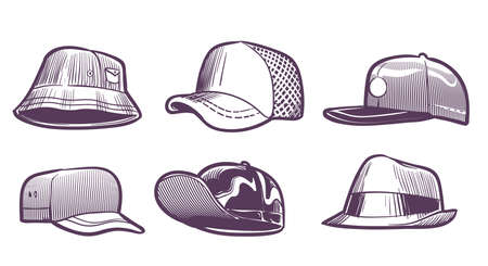 Fashion hats sketch. Headdress design for men. Baseball caps with visors and textile. Seasonal head wear drawing. Trendy male head gears set. Vector casual accessory collection