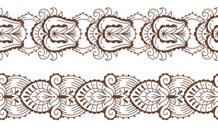Floral laces mehndi. Henna tattoo. Oriental seamless borders with natural elements. Ethnic line ornaments. Brown color mandalas design. Vector Indian traditional body decorations set 矢量图像