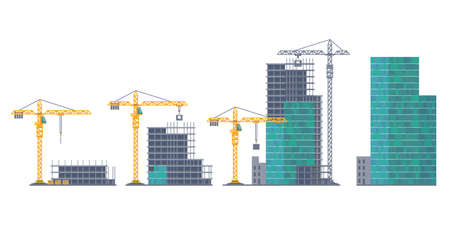 House emergence. Building stages. Unfinished real estate and crane. Housing development from frame constructions and concrete panels. Process of skyscraper creation. Vector illustration