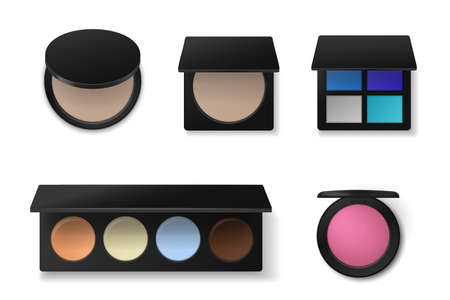 Professional cosmetics. Realistic eyeshadow or concealer palettes. Face powder and blush. Makeup products collection. Containers with decorative paints. Vector beauty accessory set