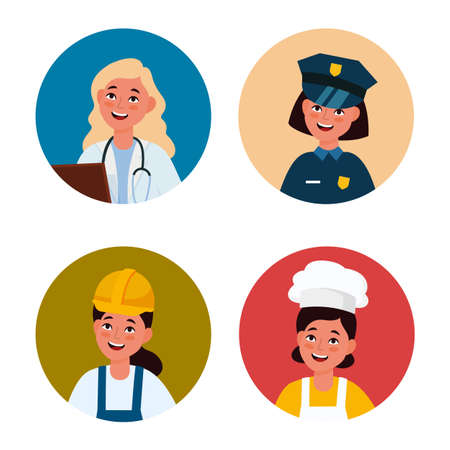 Professional female avatar. Workers women in uniform. Circles with happy faces. Girls wear doctor and police officer, builder or chef costumes. Cartoon portraits. Vector profiles set