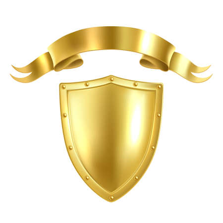 Realistic heraldic symbol. 3D golden shield and ribbon. Monarch award. Isolated medieval armor. Aristocratic template for coat of arms and motto. Blank royal signs set. Vector insignia