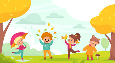 Autumn park walking. Happy kids play outdoor with falling leaves, little boys and girls with umbrellas jump through puddles and collect mushrooms, year season activities vector cartoon concept