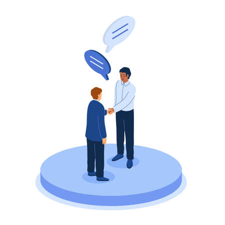 Isometric office. Business people. Men shaking hands and talking. Corporate departments division. Meeting for concluding contracts. Employees with speech bubbles. Vector illustration