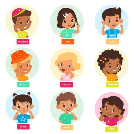 Kid pointing face part. Cute children denote facial features, show forehead, cheek, eyes and nose, educational games for babies. Sense organs vector cartoon isolated set Ilustración de vector