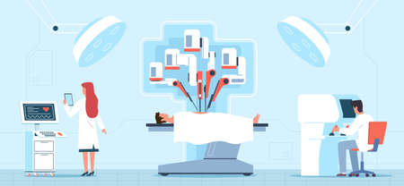 Robotic surgery. Medical operation process, surgical table with patient, doctors use remote controllers, mechanical hands. Futuristic healthcare vector cartoon horizontal concept