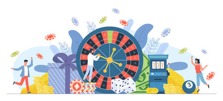 Casino gambling people. Man and woman playing roulette. Big win on fortune wheel. Cartoon players hit jackpot and receive money. Persons celebrate lottery winning. Vector gamble concept