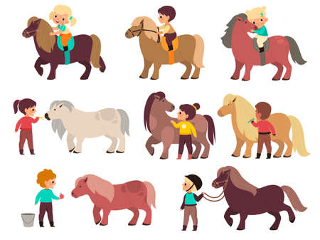 Kids horses. Cute children and little ponies characters, boys and girls rides, young jockeys and small equines, animals therapy. Feed and take care of pets. Vector cartoon flat isolated set Ilustración de vector