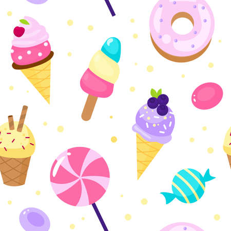 Seamless pattern sweets. Cartoon style candies and ice cream background dessert, lollipop and donut, pink colour girly decor. Decor textile, wrapping paper wallpaper vector print