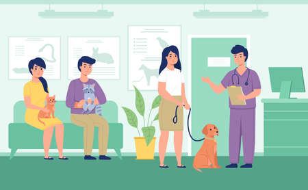 Vet reception. Registration animals in queue to veterinarian, owners with pets in clinic, waiting for doctors appointment. Medical treatment, animal health care. Vector isolated concept 矢量图像