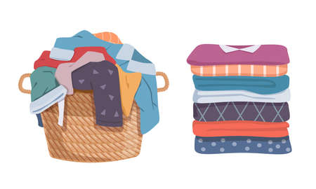 Dirty and clean clothes. Apparel heap with stains in basket and washed clothing, pile different towels. Soiled smelly pile of fabric cotton t-shirts and socks. Vector laundry isolated set 矢量图像