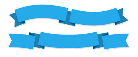 Ribbon banner. Two blue ribbons. Festive wavy blank horizontal paper tapes, empty satin decorative promotion labels and streamers, blank decor advertise flags vector isolated flat set