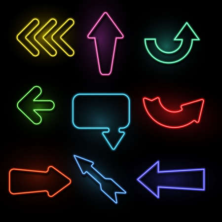 Arrows neon. Light direction arrow bright frames. Casino, nightclub and cinema glowing outside vintage signs. Blue, red and yellow illuminated signboards and pointers, vector isolated set