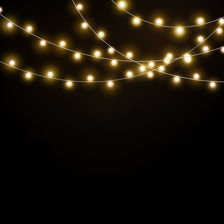 Light background garlands. Christmas lights realistic, glowing led neon lamps. luminous bulbs, holiday electric illuminating. Banners, posters or greeting card isolated vector elements