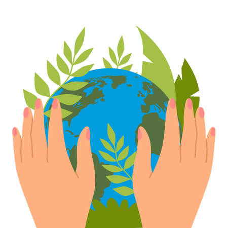 Protecting planet. Hands hold green leaves, save the earth, ecological activists, banner or card, ecology and environment protection, happy Earth day, vector cartoon flat isolated concept 矢量图像