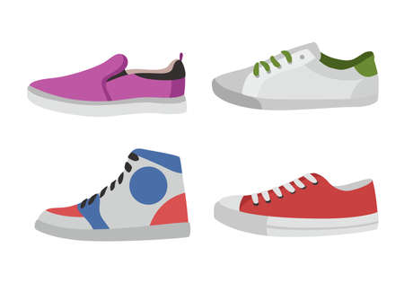 Shoes. Types of footwear. Mens or womens clothes for sport and casual wear. Side view of trendy sneaker and slip-on. Fashionable bright footgear collection. Vector unisex accessories set