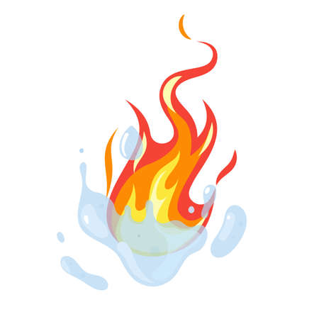 Fire fighting. Water extinguishing. Cartoon firefighting sign with aqua splash and red flames. Emergency service burning symbol. Dangerous ignition. Natural elements. Vector concept