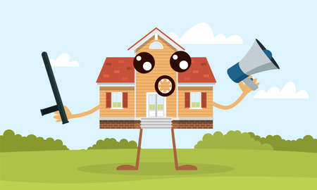 Home defense. House mascot with baton and loudspeaker. Residential property protection and safety concept. Building defender character with cute face expression. Vector secure cottage 矢量图像