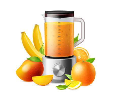 Juicy fruit. Household blender and ripe mangoes or oranges. Kitchen equipment for blending banana and citrus fresh drink. Healthy vegetarian beverage. Vector mixing smoothie concept 矢量图像