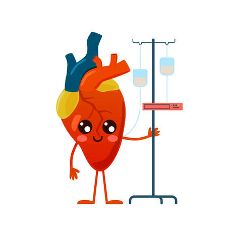 Prevention and treatment heart disease. Cartoon body organ mascot. Cute character with medical dropper. Cardiovascular health protection and recovery. Vector preventive medicine concept