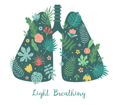 Lungs care. Light breathing concept. Cartoon body respiratory organ with green plant leaves and flowers. Healthy respiration. Fresh air. Vector clean environment and nature protection