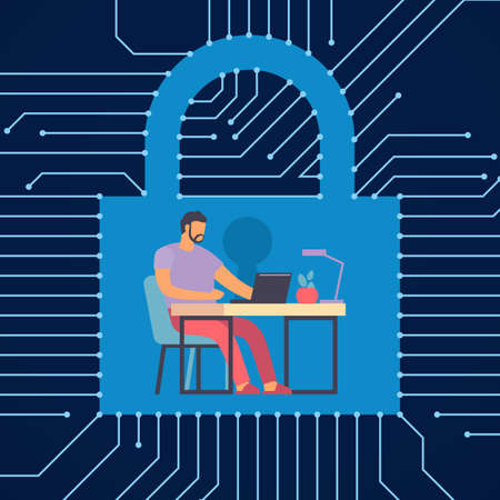 Protected workflow. Man working at computer. Digital security. Information encryption. Lock with keyhole. Internet privacy and business data safety. Protection of hackers. Vector concept