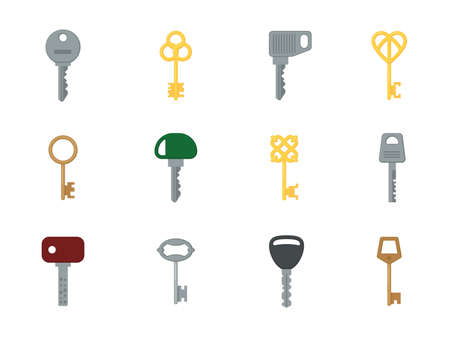 Cartoon keys. Colored flat different shapes keys, ancient and modern designs, home security tools, gold, silver and bronze colors. Design and decor elements. Vector isolated set