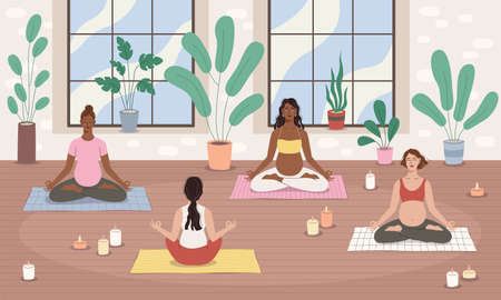Group pregnancy yoga. Future moms team relax in lotus pose, female meditation, relaxed women characters, spirit balance and peace, childbirth preparation. Vector cartoon concept