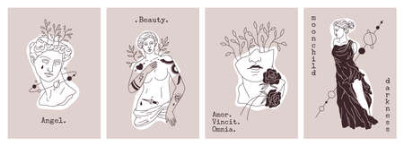Antique statues cards. Greek gods sculptures. Retro elements combination in modern graphics style with plants or planets. Female figures and typewritten lettering. Vector banners set 矢量图像