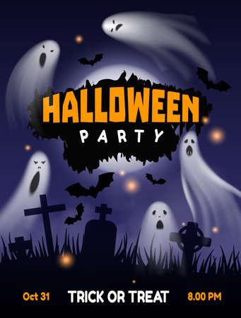 Halloween ghost party. Night cemetery background with flying horror phantoms and bats. Trick-or-treat banner. Scary dark sky with moon and lights. Vector autumn holiday invitation poster